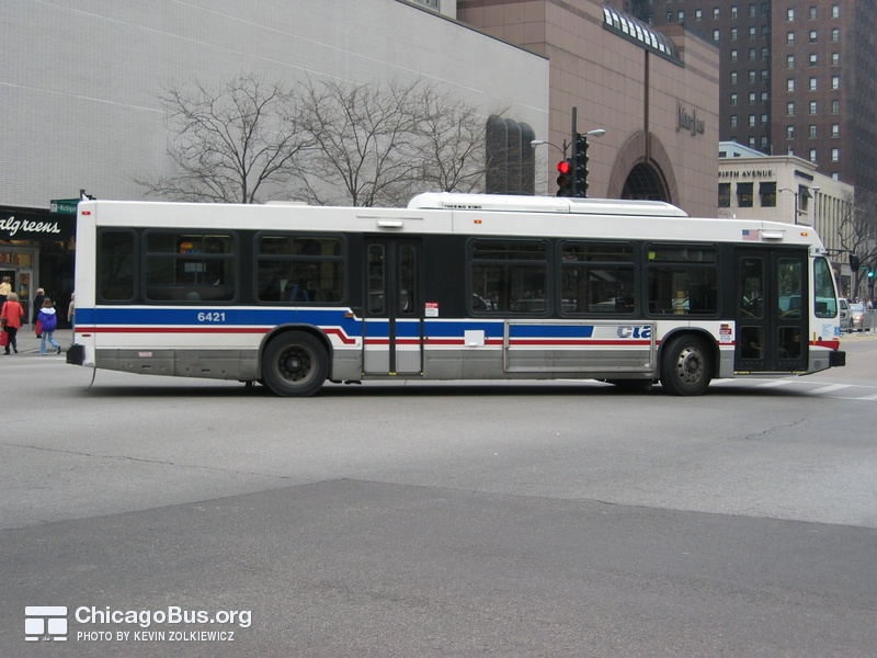 Bus #6421 at Chicago and Michigan, working route #3 King Drive, on November 22, 2003.