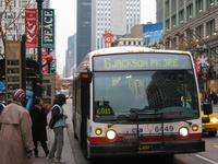 Bus #6449 at State and Washington, working route #6 Jackson Park Express, on November  2, 2003.